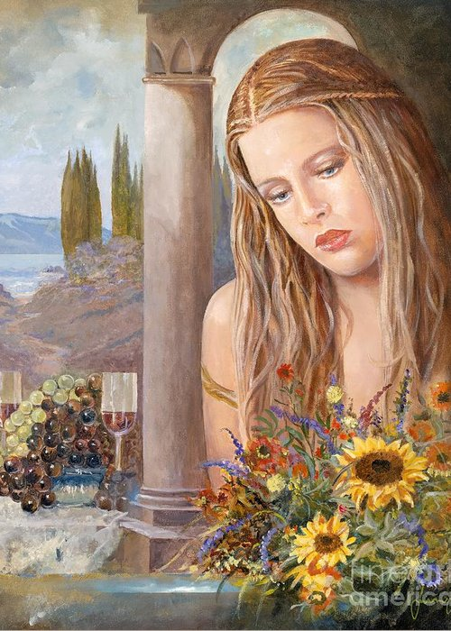 Portrait Greeting Card featuring the painting Summer Day by Sinisa Saratlic