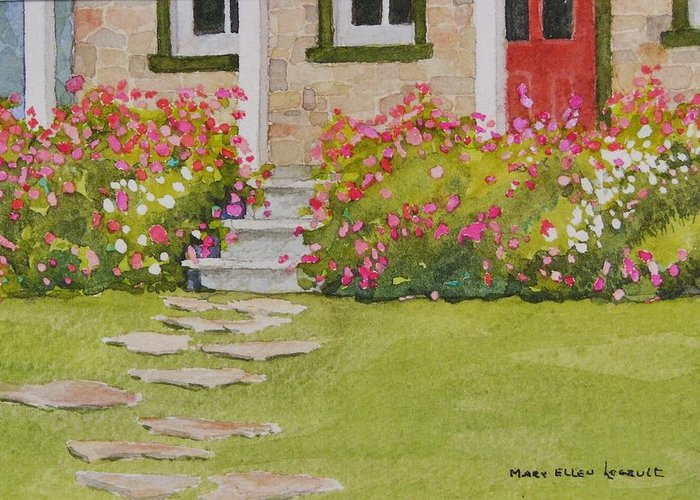 Garden Greeting Card featuring the painting Summer Glory by Mary Ellen Mueller Legault