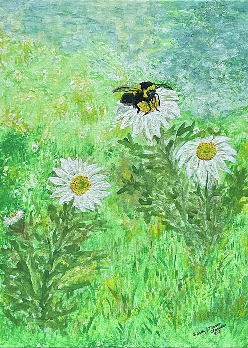 Bumble Bee Greeting Card featuring the painting Summer Is Here by Kathy Marrs Chandler
