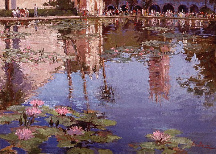 Water Lily Paintings Greeting Card featuring the painting Sunday Reflections - Balboa Park by Betty Jean Billups