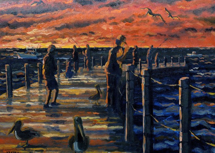 Sunrise Greeting Card featuring the painting Sunrise At The Inlet by Ralph Papa