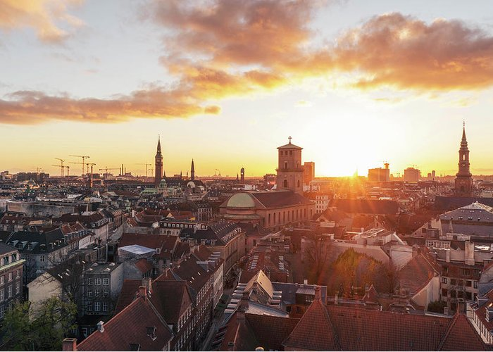 City Greeting Card featuring the photograph Sunset above Copenhagen by Hannes Roeckel