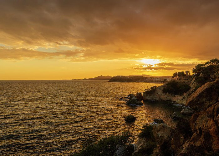 Lloret Greeting Card featuring the photograph Sunset In Lloret De Mar From The Cami De Ronda by Vicen Photography