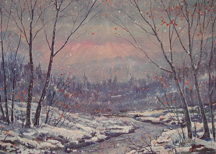 Landscape Greeting Card featuring the painting Sunset In Winter. by Leonard Holland