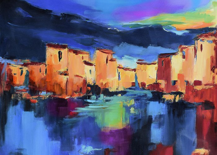 Cinque Terre Greeting Card featuring the painting Sunset Over the Village by Elise Palmigiani