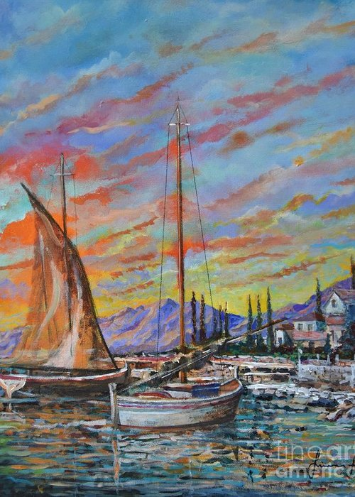 Original Painting Greeting Card featuring the painting Sunset by Sinisa Saratlic