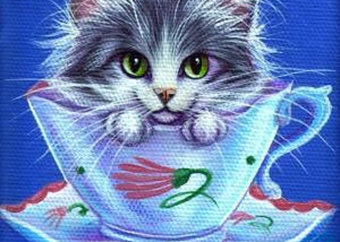 Whimsy Greeting Card featuring the painting Susie Cooper Tea Time Kitty by L Risor