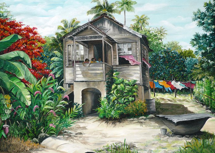 Landscape Painting Caribbean Painting House Painting Tobago Painting Trinidad Painting Tropical Painting Flamboyant Painting Banana Painting Trees Painting Original Painting Of Typical Country House In Trinidad And Tobago Greeting Card featuring the painting Sweet Island Life by Karin Dawn Kelshall- Best