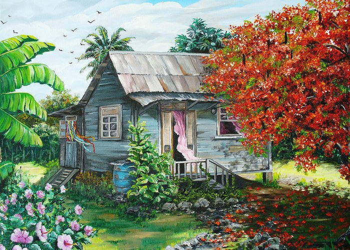 Caribbean Painting Original Painting Trinidad And Tobago ..house Painting Flamboyant Tree Painting Red Blossoms Painting Floral Painting Tree Painting Tropical Painting Greeting Card featuring the painting Sweet Tobago Life. 2 by Karin Dawn Kelshall- Best