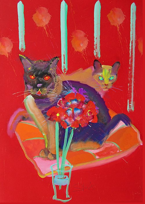 Burmese Cat Greeting Card featuring the painting Symphony In Red Two by Charles Stuart
