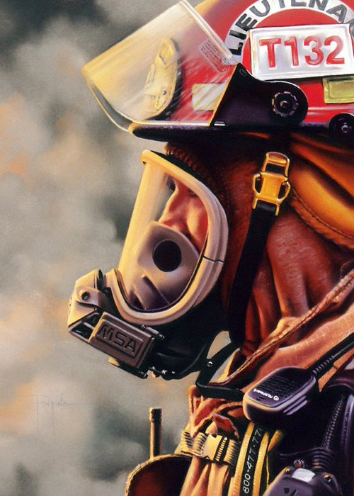 Fireman Greeting Card featuring the pastel T-132 by Dianna Ponting