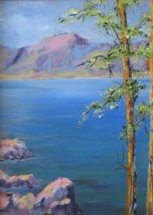 Plein Air Greeting Card featuring the painting Tahoe by Thomas Restifo