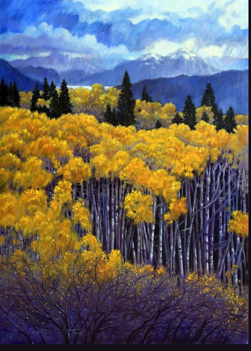 Snow Clouds Over Rocky Mountains Greeting Card featuring the painting Tall Aspens by John Lautermilch