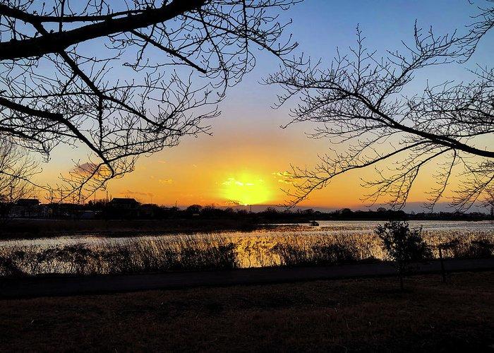 Sunset Greeting Card featuring the photograph Tatebayashi Sunset by Kiyoto Matsumoto