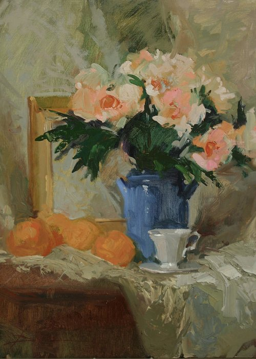 Still Life Greeting Card featuring the painting Tea and Roses by Betty Jean Billups