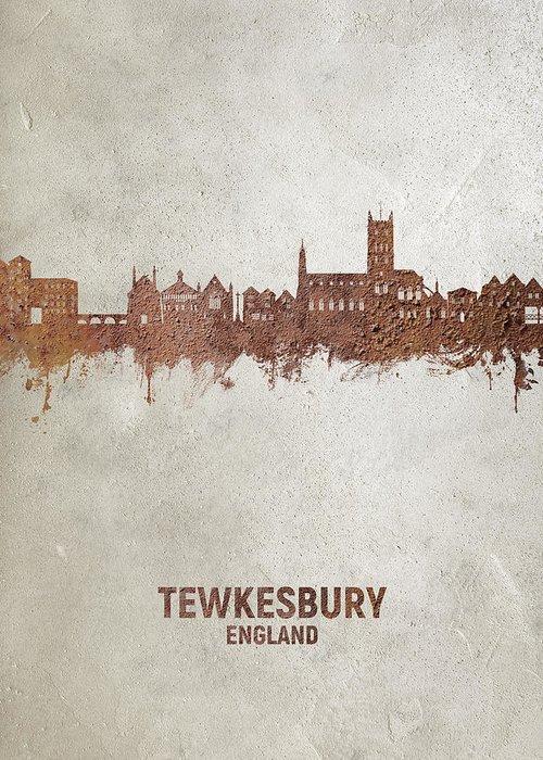 Tewkesbury Greeting Card featuring the digital art Tewkesbury England Skyline #20 by Michael Tompsett