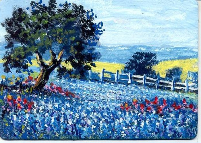 Painting Greeting Card featuring the painting Texas Hill Country Bluebonnets #2 by Peggy Conyers