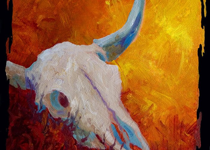 Longhorn Greeting Card featuring the painting Texas Longhorn Skull by Marion Rose