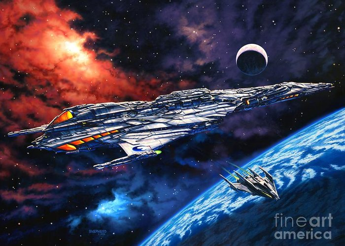 Space Ship Greeting Card featuring the painting The Anprall by Stu Shepherd