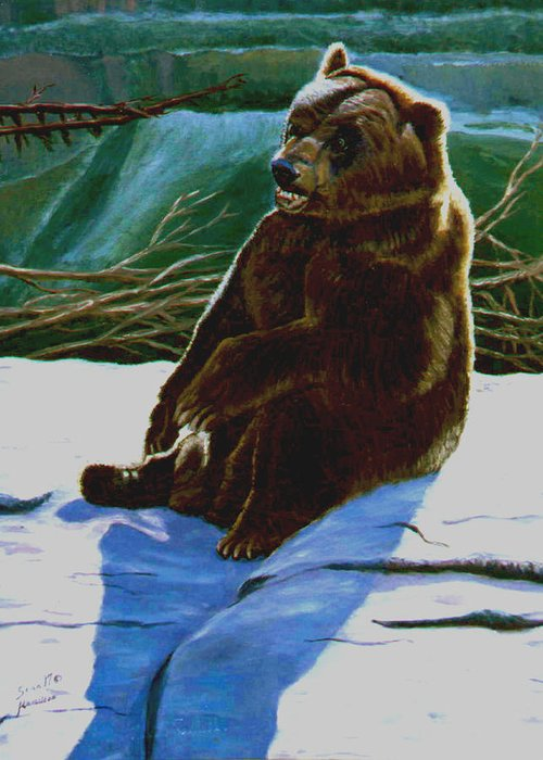 Original Oil On Canvas Greeting Card featuring the painting The Bear by Stan Hamilton