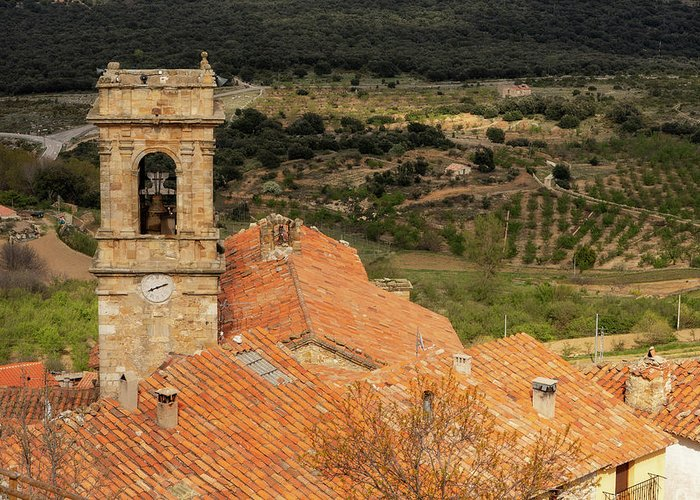 Culla Greeting Card featuring the photograph The Bell Tower Of The Town Of Culla In Castellon by Vicen Photography