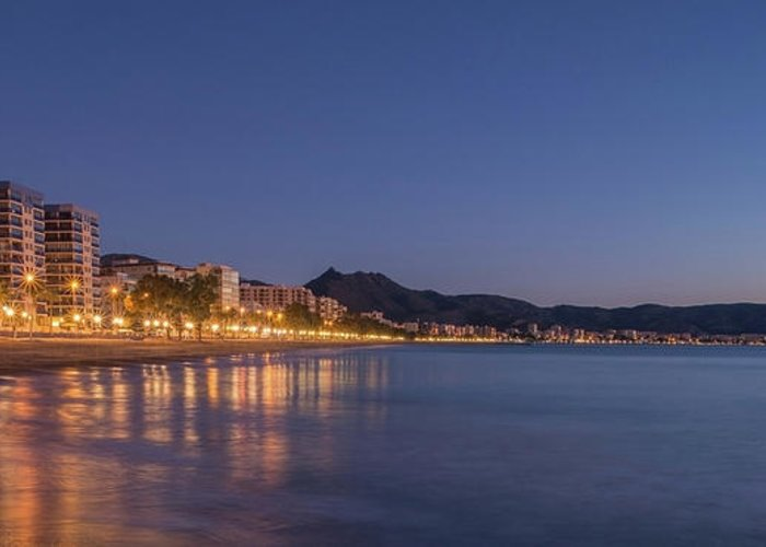 Landscapes Greeting Card featuring the photograph The Coast Of Benicassim By Night by Vicen Photography
