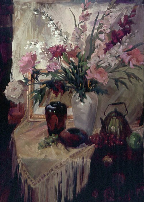 Still Life Greeting Card featuring the painting The Copper Art Glass by Betty Jean Billups