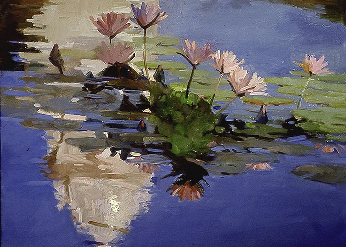 Water Lilies Greeting Card featuring the painting The Dome - Water Lilies by Betty Jean Billups