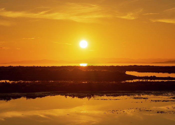 Lake Greeting Card featuring the photograph The Ebro Delta At Sunset by Vicen Photography
