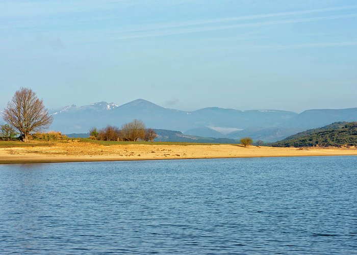 Peace Greeting Card featuring the photograph The Ebro Reservoir In Cantabria by Vicen Photography