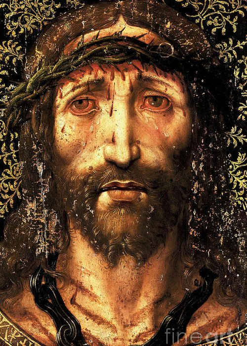 Ecce Homo Greeting Card featuring the painting The face of Christ or the suffering Christ by Joan Gasco