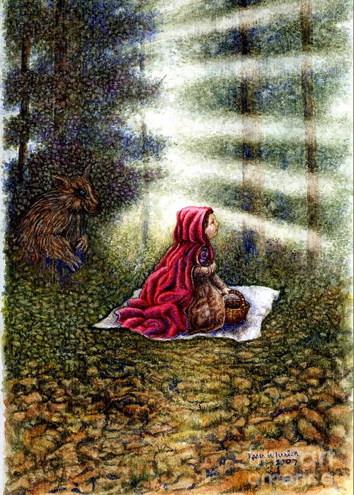 Girl In Forest Greeting Card featuring the painting The Fate of Little Red Riding Hood Part Two by Karen Wheeler