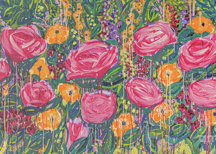 English Garden Greeting Card featuring the painting The Garden by Amanda Armstrong