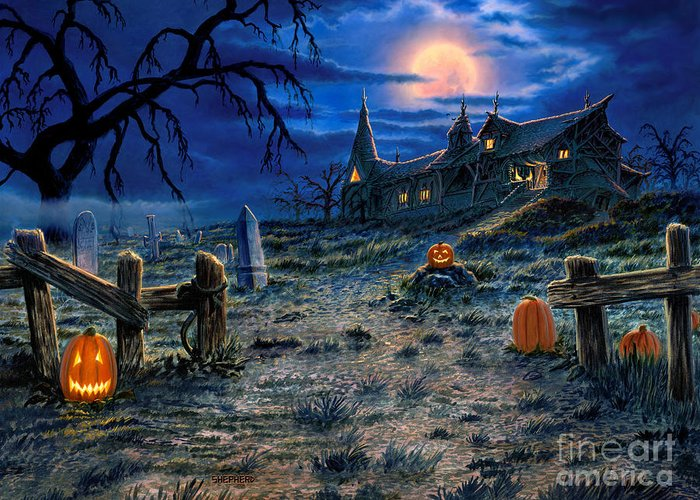 Halloween Greeting Card featuring the painting The Haunted House by Stu Shepherd