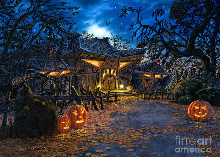 Haunted House Greeting Card featuring the painting The House At Dead End by Stu Shepherd
