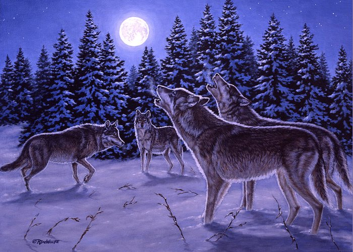 Wolf Greeting Card featuring the painting The Howling by Richard De Wolfe