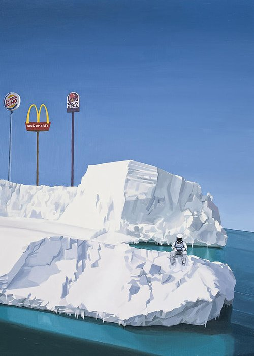 Astronaut Greeting Card featuring the painting The Iceberg by Scott Listfield