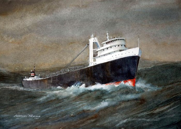 Ships Greeting Card featuring the painting The John J Boland by Charles Rowland