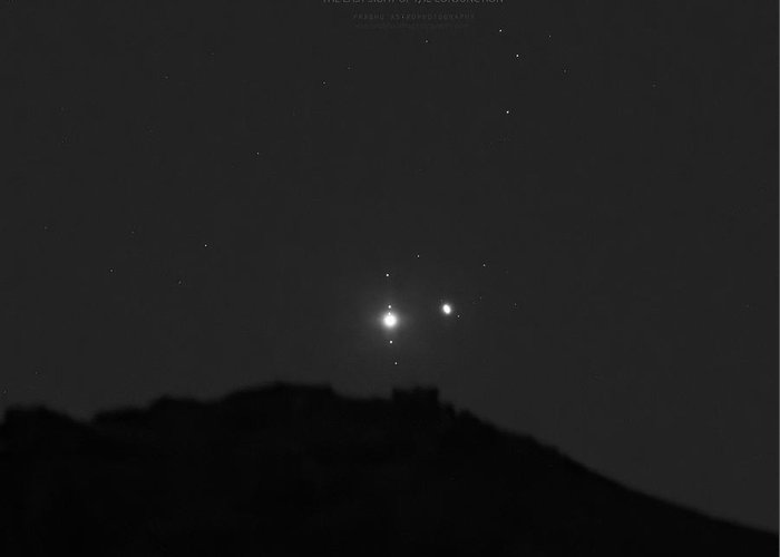 Greeting Card featuring the photograph The Last sight of the Conjunction by Prabhu Astrophotography