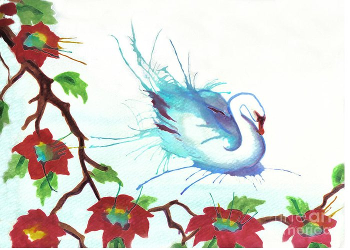 Swan Greeting Card featuring the painting The Messanger by Angelique Bowman