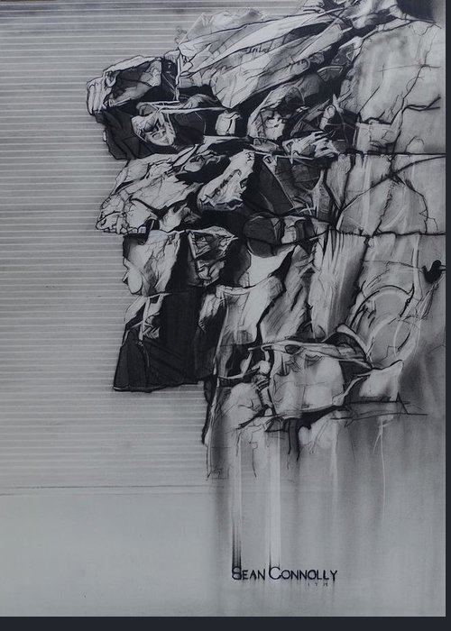 Charcoal On Paper Greeting Card featuring the drawing The Old Man Of The Mountain by Sean Connolly