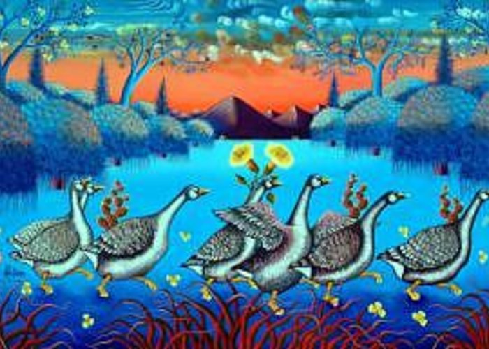 The Procession Oil On Canvas Greeting Card featuring the painting The Procession 24x48 by Frantz Petion by Frantz Petion