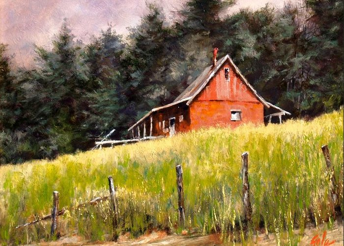 Landscape Greeting Card featuring the painting The Red Coach Stop by Jim Gola