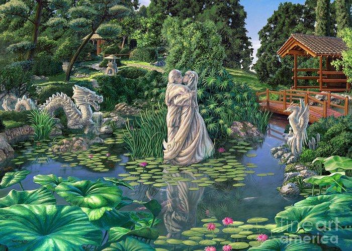Oriental Garden Greeting Card featuring the painting The Romance Garden by Stu Shepherd