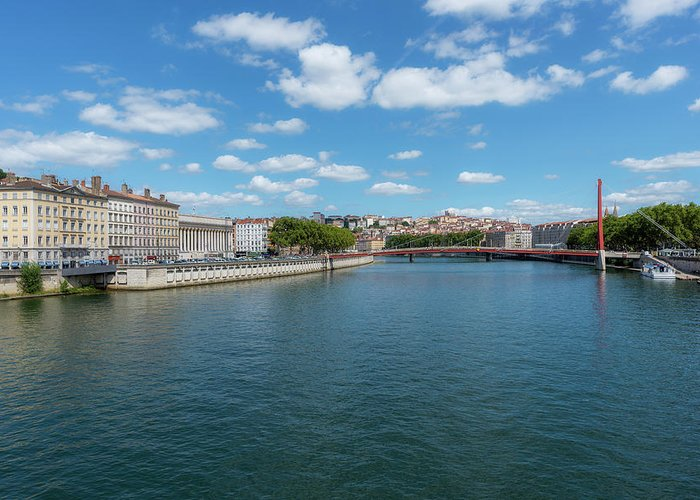 Lyon Greeting Card featuring the photograph The Saona River In Lyon, France by Vicen Photography