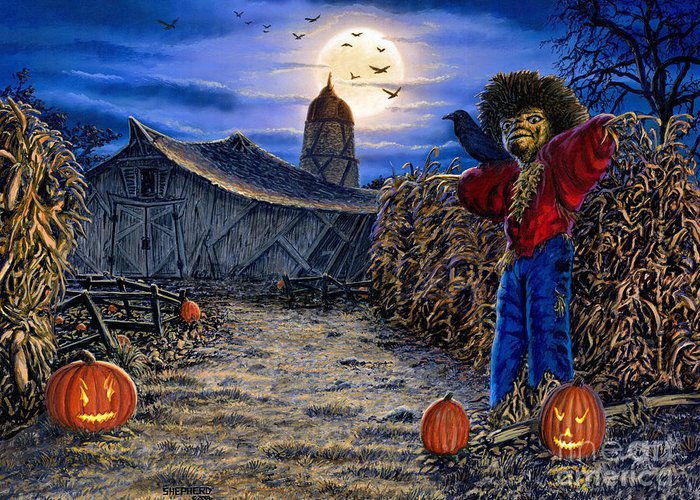 Halloween Greeting Card featuring the painting The Spooky Scarecrow by Stu Shepherd