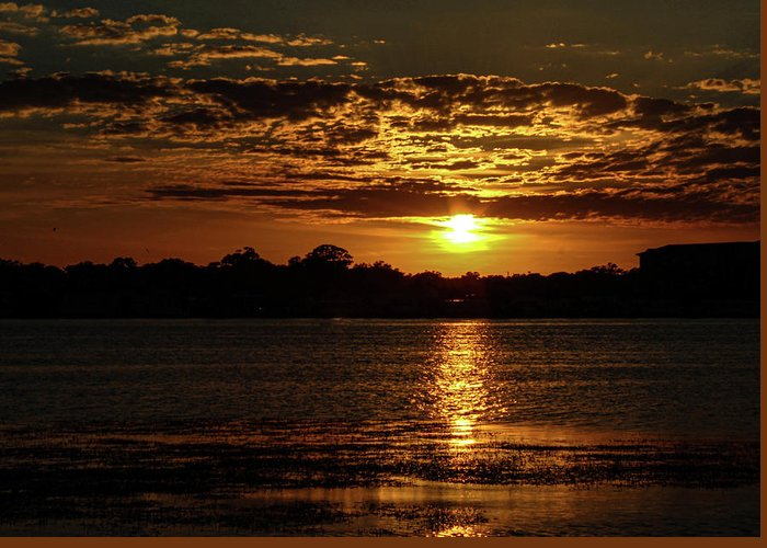 Sunset Greeting Card featuring the photograph The Sunset over the Lake by Daniel Cornell