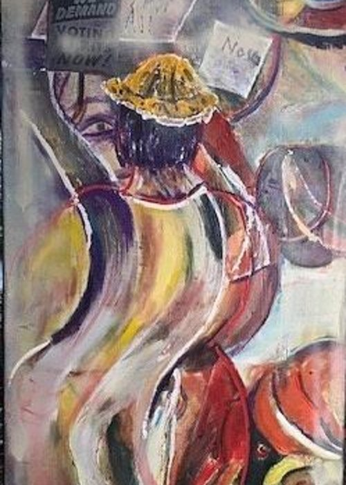 Demonstration Greeting Card featuring the painting The Time is Now by Peggy Blood