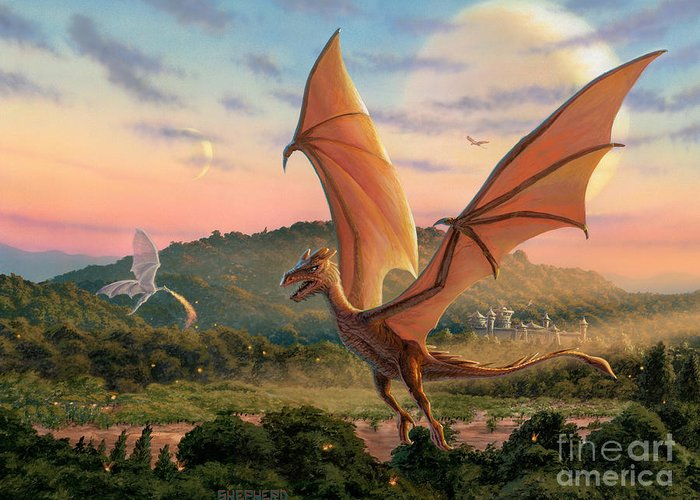Dragon Greeting Card featuring the painting The Training Fields by Stu Shepherd