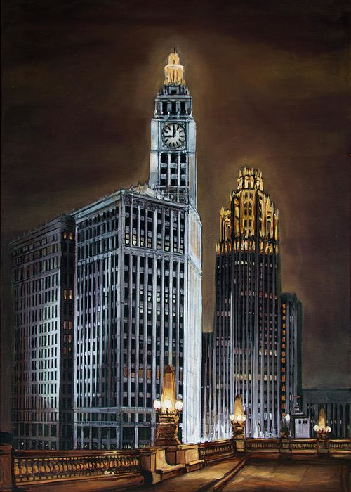The Wrigley Building And Tribune Tower Viewed From Wacker Drive Approaching Michigan Avenue. Greeting Card featuring the painting The Wrigley Building and Tribune Tower by Christopher Buoscio